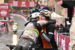 World Champion Elizabeth Deignan (GBR) hugs team mate winner Anna van der Breggen (NED) Boels Dolmans Cycling Team after she takes a solo victory of the Strade Bianche Women Elite NamedSport race running 136km from Siena to Siena, Italy. 3rd March 2018.<br /> Picture: LaPresse/Massimo Paolone | Cyclefile<br /> <br /> <br /> All photos usage must carry mandatory copyright credit (© Cyclefile | LaPresse/Massimo Paolone)