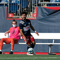 FOXBOROUGH, MA - JULY 25: USL League One (United Soccer League) match. Ryan Spaulding #34 of New England Revolution II looks to pass during a game between Union Omaha and New England Revolution II at Gillette Stadium on July 25, 2020 in Foxborough, Massachusetts.