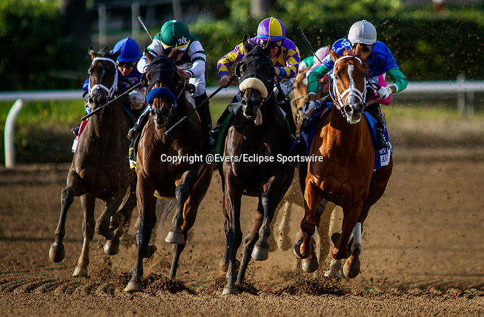 MAR 07: Combatant with Joel Rosario uo (left) defeats Midcourt with Victor Espinoza and Multiplier with Tyler Gaffalione to win the Santa Anita Handicap at Santa Anita Park in Arcadia, California on March 7, 2020. Evers/Eclipse Sportswire/CSM