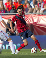 USA midfielder Sacha Kljestan (16) dribbles. In a friendly match, Spain defeated USA, 4-0, at Gillette Stadium on June 4, 2011.