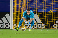 CARSON, CA - SEPTEMBER 15: David Bingham #1 of the Los Angeles Galaxy gets after a loose ball during a game between Sporting Kansas City and Los Angeles Galaxy at Dignity Health Sports Park on September 15, 2019 in Carson, California.
