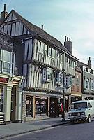 Cambridge: Half-timbered building on Bridge St. Photo '82.