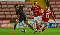 21st November 2020, Oakwell Stadium, Barnsley, Yorkshire, England; English Football League Championship Football, Barnsley FC versus Nottingham Forest; Yuri Ribeiro of Nottingham Forrest shields the ball from Sammy Ameobi of Nottingham Forrest