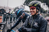 Esteban Chavez (COL/Michelton-Scott) at the race start in torrential rained down Nice<br /> <br /> 76th Paris-Nice 2018<br /> Stage 8: Nice > Nice (110km)