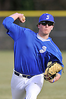 Pitcher Graham Lawson (36)) of the Spartanburg Methodist College Pioneers warms up before a junior college game against Surry Community College on January 31, 2016, at Mooneyham Field in Spartanburg, South Carolina. (Tom Priddy/Four Seam Images)