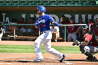 Julian Leon (34) of the Ogden Raptors at bat against the Idaho Falls Chukars in Pioneer League action at Lindquist Field on July 27, 2014 in Ogden, Utah.  (Stephen Smith/Four Seam Images)