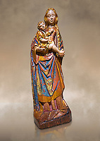 Gothic statue of The Virgin Mary (Madonna) holding the baby Jesus. Polychrome and gold leaf on wood by the Circle of Gil de Siloe around 1500, probably from Castella. Inv MNAC 64028. National Museum of Catalan Art (MNAC), Barcelona, Spain