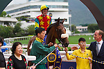 SHA TIN,HONG KONG-APRIL 24: Ambitious Champion,ridden by Chad Schofield, appears winning ceremony after winning the Queen Mother Memorial Cup (Local G3) at Sha Tin Racecourse on April 24,2016 in Sha Tin,New Territories,Hong Kong (Photo by Kaz Ishida/Eclipse Sportswire/Getty Images)