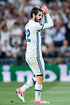 Isco Alarcon of Real Madrid celebrates during their 2016-17 UEFA Champions League Semifinals 1st leg match between Real Madrid and Atletico de Madrid at the Estadio Santiago Bernabeu on 02 May 2017 in Madrid, Spain. Photo by Diego Gonzalez Souto / Power Sport Images