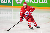 22nd May 2021, Riga Olympic Sports Centre Latvia; 2021 IIHF Ice hockey, Eishockey World Championship, Great Britain versus Russia;  Igor Ozhiganov Russia looking for the first pass