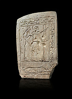 Ancient Egyptian stele of a bowman and his wife, limestone, First Intermediate Period, 7-11th Dynasty, (2118-1980 BC), Deir el-Medina, Schiaparelli cat 1273. Egyptian Museum, Turin. black background