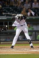 Luis Robert (9) of the Charlotte Knights is hit by a pitch during the game against the Gwinnett Braves at BB&T BallPark on July 12, 2019 in Charlotte, North Carolina. The Stripers defeated the Knights 9-3. (Brian Westerholt/Four Seam Images)
