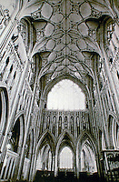 Historic photo of the Choir of Wells Cathedral with Gothic vaulting.