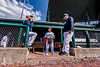 29 May 2021: Vermont Lake Monsters Infielder Pat Desalvo, from Tenafly, NJ, chats with Assistant Coach Matt Fincher, from Atlanta, GA (right), and Assistant Coach Chris Richard, from Burlington, VT, (left) prior to a game against the Norwich Sea Unicorns at Centennial Field in Burlington, Vermont. The Lake Monsters defeated the Unicorns 6-3 in their FCBL Home Opener, the first home game played at Centennial Field post-Covid-19 pandemic. Mandatory Credit: Ed Wolfstein Photo *** RAW (NEF) Image File Available ***