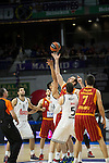 Real Madrid´s Gustavo Ayon and Rudy Fernandez and Galatasaray´s Maric and Erceg during 2014-15 Euroleague Basketball match between Real Madrid and Galatasaray at Palacio de los Deportes stadium in Madrid, Spain. January 08, 2015. (ALTERPHOTOS/Luis Fernandez)