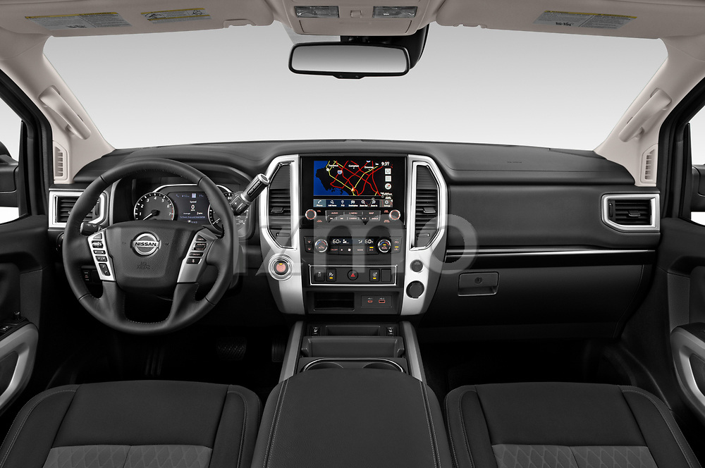 Stock photo of straight dashboard view of 2020 Nissan Titan SV 4 Door Pick-up Dashboard
