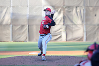 GREENSBORO, NC - FEBRUARY 25: Jack Erbeck #30 of Fairfield University throws a pitch during a game between Fairfield and UNC Greensboro at UNCG Baseball Stadium on February 25, 2020 in Greensboro, North Carolina.