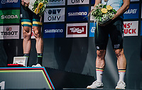 That's some serious calves on bronze medalist Victor Campenaerts (BEL/Lotto-Soudal)...<br /> <br /> MEN ELITE INDIVIDUAL TIME TRIAL<br /> Hall-Wattens to Innsbruck: 52.5 km<br /> <br /> UCI 2018 Road World Championships<br /> Innsbruck - Tirol / Austria