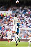 Real Madrid's player Raphael Varane and Celta de Vigo's player John Guidetti during a match of La Liga Santander at Santiago Bernabeu Stadium in Madrid. August 27, Spain. 2016. (ALTERPHOTOS/BorjaB.Hojas)