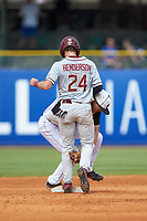 Matt Henderson (24) of the Florida State Seminoles returns to second base ahead of the tag by Devin Mann (7) of the Louisville Cardinals during Game Eleven of the 2017 ACC Baseball Championship at Louisville Slugger Field on May 26, 2017 in Louisville, Kentucky. The Seminoles defeated the Cardinals 6-2. (Brian Westerholt/Four Seam Images)