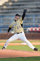 Starting pitcher Michael Dimock #23 of the Wake Forest Demon Deacons in action versus the Coastal Carolina Chanticleers at Wake Forest Baseball Park April 8, 2009 in Winston-Salem, North Carolina. (Photo by Brian Westerholt / Four Seam Images)