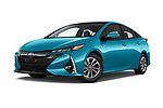 Stock pictures of low aggressive front three quarter view of a 2017 Toyota Prius Plug-in Hybride Solar 5 Door Hatchback