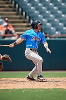Akron RubberDucks Tyler Friis (38) at bat during an Eastern League game against the Bowie Baysox on May 30, 2019 at Prince George's Stadium in Bowie, Maryland.  Akron defeated Bowie 9-5.  (Mike Janes/Four Seam Images)