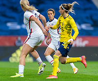 SOLNA, SWEDEN - APRIL 10: Carli Lloyd #10 of the USWNT watches the ball during a game between Sweden and USWNT at Friends Arena on April 10, 2021 in Solna, Sweden.