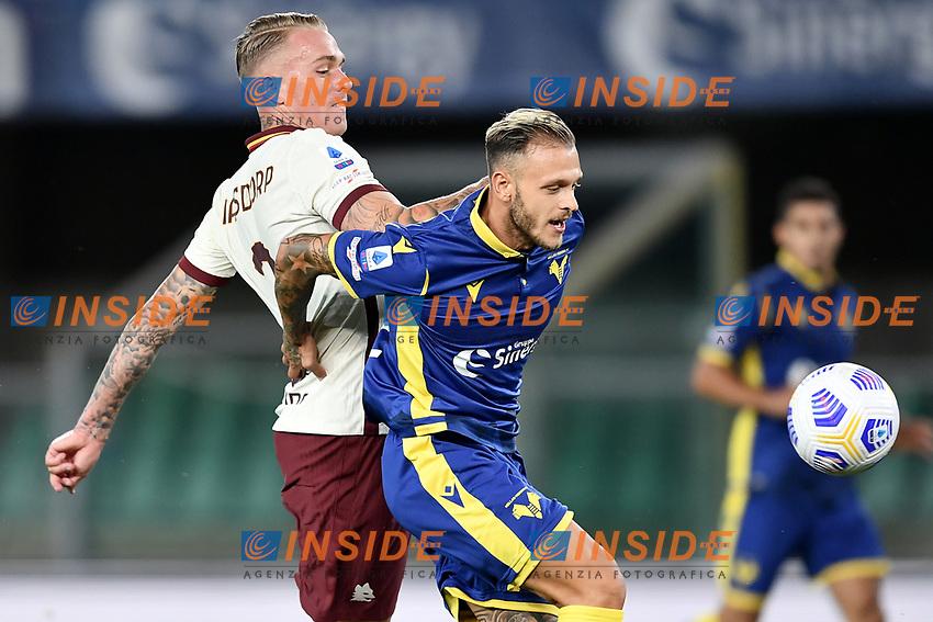 Rick Karsdorp-Federico Dimarco <br /> Serie A football match between Hellas Verona and AS Roma at Marcantonio Bentegodi Stadium in Verona (Italy), September 19th, 2020. Photo Image Sport / Insidefoto