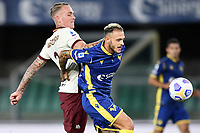 Rick Karsdorp-Federico Dimarco <br /> Serie A football match between Hellas Verona and AS Roma at Marcantonio Bentegodi Stadium in Verona (Italy), September 19th, 2020. Photo Image Sport / Insidefoto