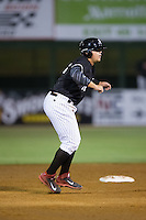 Corey Zangari (14) of the Kannapolis Intimidators takes his lead off of second base against the Delmarva Shorebirds at Kannapolis Intimidators Stadium on April 23, 2016 in Kannapolis, North Carolina.  The Shorebirds defeated the Intimidators 4-2.  (Brian Westerholt/Four Seam Images)