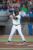Hillsboro Hops second baseman Keshawn Lynch (8) at bat during a Northwest League game against the Salem-Keizer Volcanoes at Ron Tonkin Field on September 1, 2018 in Hillsboro, Oregon. The Salem-Keizer Volcanoes defeated the Hillsboro Hops by a score of 3-1. (Zachary Lucy/Four Seam Images)