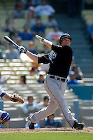 Adam Lind of the Toronto Blue Jays during a game from the 2007 season at Dodger Stadium in Los Angeles, California. (Larry Goren/Four Seam Images)