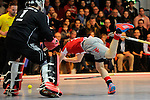 Mannheim, Germany, January 24: During the 1. Bundesliga Herren Hallensaison 2014/15 quarter-final hockey match between Mannheimer HC (white) and Club an der Alster (red) on January 24, 2015 at Irma-Roechling-Halle in Mannheim, Germany. Final score 2-3 (1-2). (Photo by Dirk Markgraf / www.265-images.com) *** Local caption *** Christopher Ruehr #19 of Club an der Alster