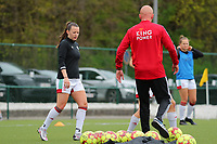 Hannah Eurlings (9) of OHL pictured during the warm up before a female soccer game between Oud Heverlee Leuven and Standard femina de liege on the 5 th matchday of play off 1 in the 2020 - 2021 season of Belgian Womens Super League , saturday 8 th of May 2021  in Heverlee , Belgium . PHOTO SPORTPIX.BE | SPP | SEVIL OKTEM