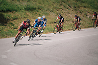 Greg Van Avermaet (BEL/BMC) descending, followed closely by Philippe Gilbert (BEL/Quick Step floors)<br /> <br /> Stage 5: Gstaad > Leukerbad (155km)<br /> 82nd Tour de Suisse 2018 (2.UWT)