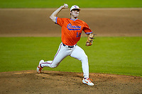 Evan Estridge (52) of the Clemson Tigers delivers a pitch in a fall Orange-Purple intrasquad scrimmage on Friday, November 13, 2020, at Doug Kingsmore Stadium in Clemson, South Carolina. (Tom Priddy/Four Seam Images)
