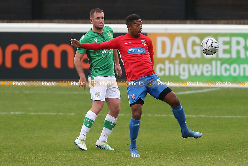 Angelo Balanta of Dagenham and Redbridge and Lee Collins of Yeovil Town during Dagenham & Redbridge vs Yeovil Town, Vanarama National League Football at the Chigwell Construction Stadium on 17th October 2020