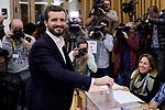 Pablo Casado during the Partido Popular leader Pablo Casado voting in Madrid at Nuestra Senora del Pilar school in Madrid, Spain. November 10, 2019. November 10, 2019. (ALTERPHOTOS/A. Perez Meca)