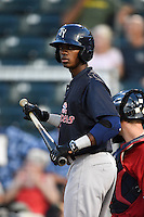 Tampa Yankees outfielder Claudio Custodio (30) at bat during a game against the Fort Myers Miracle on April 15, 2015 at Hammond Stadium in Fort Myers, Florida.  Tampa defeated Fort Myers 3-1 in eleven innings.  (Mike Janes/Four Seam Images)