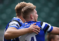 31st August 2020; Recreation Ground, Bath, Somerset, England; English Premiership Rugby, Bath versus Wasps; Ruaridh McConnochie of Bath celebrates scoring the first try of the match