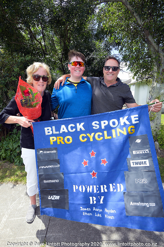 Debbie (left) and John McCormick (Hayden's parents) with Jacob Sharkey (centre) after the end of stage three of the NZ Cycle Classic UCI Oceania Tour (Martinborough circuit) in Wairarapa, New Zealand on Friday, 17 January 2020. Photo: Dave Lintott / lintottphoto.co.nz