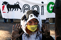 Protest of the activists of Extinction Rebellion against ENI, one of the biggest oil company in the world and the energy multinational most pollutant I Italy. The activists, asking the company to give up with petrol and to produce green energy, staged men pouring petrol on dying animals and plants.<br /> Rome (Italy), October 8th 2020<br /> Photo Samantha Zucchi Insidefoto