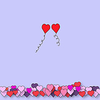Two Valentine balloons floating away together