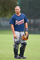 Meng Tsai of the Gulf Coast League Braves during the game against the Gulf Coast League Tigers July 3 2010 at the Disney Wide World of Sports in Orlando, Florida.  Photo By Scott Jontes/Four Seam Images