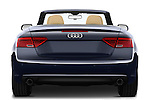 Straight rear view of a 2013 Audi A5 Convertible with the top down..