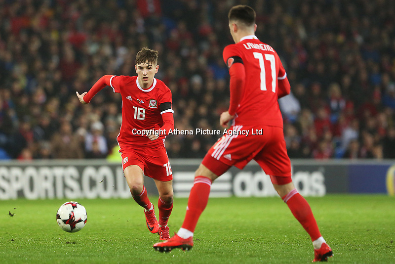 David Brooks of Wales and Tom Lawrence during the International Friendly match between Wales and Panama at The Cardiff City Stadium, Wales, UK. Tuesday 14 November 2017