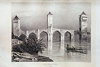 Europe/France/Midi-Pyrénées/46/Lot/Cahors: La bibliothèque - Vieille lithographie du Pont Valentré