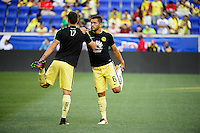 Harrison, NJ - Wednesday July 06, 2016: Ventura Alvarado, Miguel Samudio during a friendly match between the New York Red Bulls and Club America at Red Bull Arena.