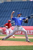 Dunedin Blue Jays pitcher Blake McFarland (24) delivers a pitch during a game against the Clearwater Threshers on April 6, 2014 at Bright House Field in Clearwater, Florida.  Dunedin defeated Clearwater 5-2.  (Mike Janes/Four Seam Images)